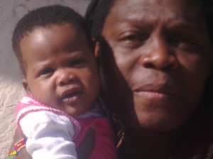Simon's first meeting with his granddaughter, Johannesburg 2011