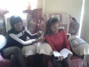 Gamue and Annabel writing verses for our song
