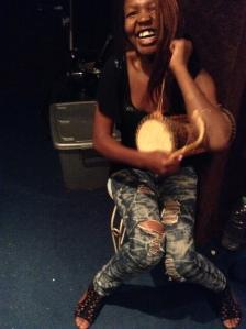 Nonsie enjoying time in the studio