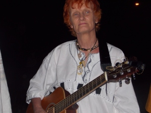 A quiet moment before a concert in Mpopoma, wearing Simon's shirt