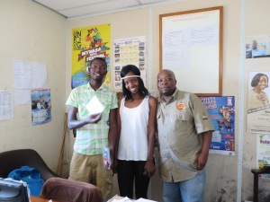 Charlie, Annabel and William at the Bulawayo office of the National Arts Council